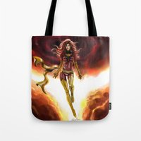 x men Tote Bags featuring X-men-Phoenix... by Emiliano Morciano (Ateyo)