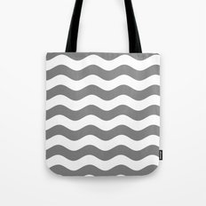 Wavy Stripes (Gray/White) Tote Bag