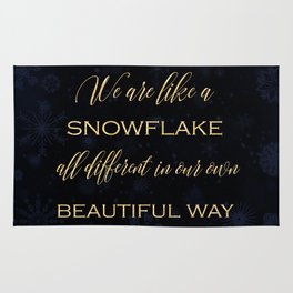 We are like a snowflake - gold glitter Typography on dark background Rug