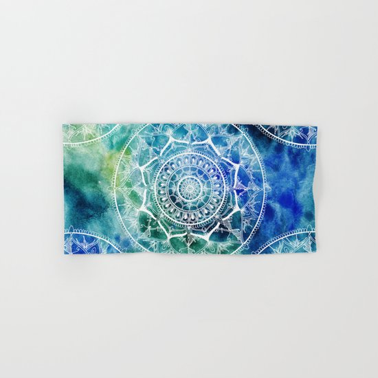 White Circle Mandala on Blue Watercolour Hand & Bath Towel