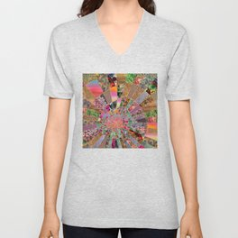 Shitty pink colored Clown Spiderweb Unisex V-Neck