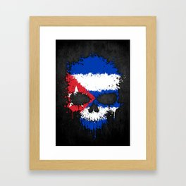 Flag of Cuba on a Chaotic Splatter Skull Framed Art Print