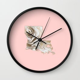 Gold marble Louisiana map Wall Clock