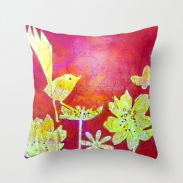 Little Yellow Bird Throw Pillow
