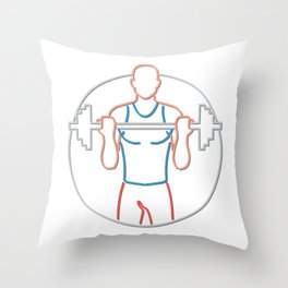 Athlete Lifting Barbell Neon Sign Throw Pillow