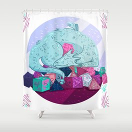 Dragon dice hoarder Shower Curtain