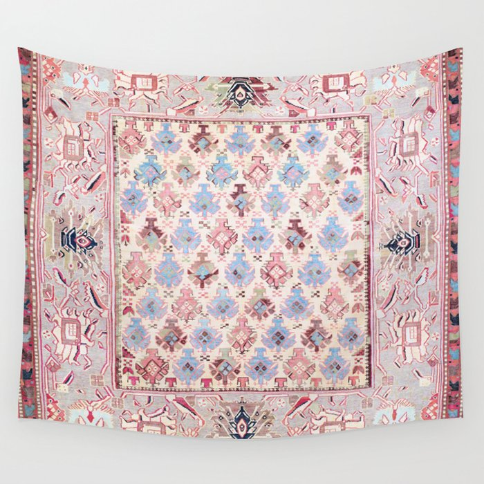 North Indian Dhurrie Kilim Print Wall Tapestry