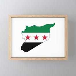 Syria Flag Map Framed Mini Art Print