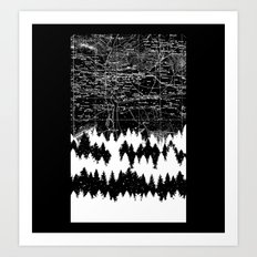 Map Silhouette Square Art Print