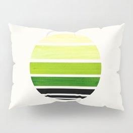 Sap Green Mid Century Modern Minimalist Circle Round Photo Staggered Sunset Geometric Stripe Design Pillow Sham