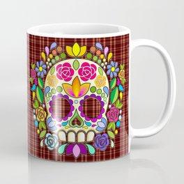 Sugar Skull Floral Naif Art Mexican Calaveras Coffee Mug