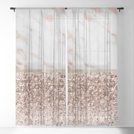 Warm chromatic - rose gold marble Sheer Curtain