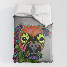 Boxer in Fawn - Day of the Dead Sugar Skull Dog Comforters