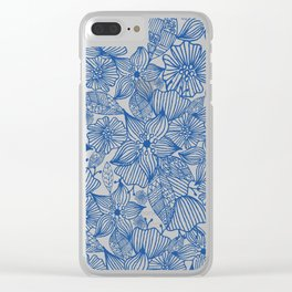 Modern royal blue white hand painted watercolor floral Clear iPhone Case