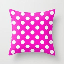 Shocking pink - fuchsia - White Polka Dots - Pois Pattern Throw Pillow