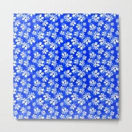 Blue Tropical Flower Pattern Metal Print