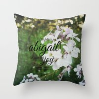 abigail larson Throw Pillows featuring Abigail by KimberosePhotography