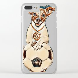 soccer jack russell  dog playing with leather ball  , isolated on white background and german  flag Clear iPhone Case