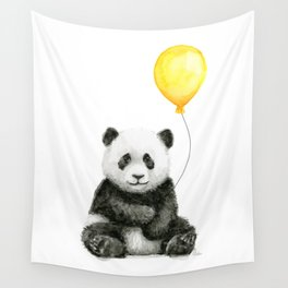 Panda Watercolor Animal with Yellow Balloon Nursery Baby Animals Wall Tapestry