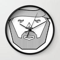 the dude Wall Clocks featuring Dude by Martin Heinemann