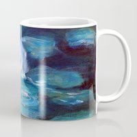 degas Mugs featuring Blue Water Lilies by Lauren Heller