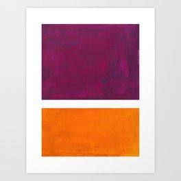 Purple Wine Yellow OchreMid Century Modern Abstract Minimalist Rothko Color Field Squares Art Print