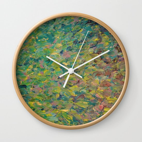 FIELDS OF BLUE - WOW Modern Abstract Shades of Blue and Green in Nature Theme Grass Waves Wall Clock