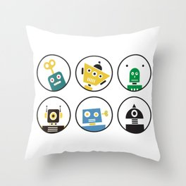 Robot Friends Throw Pillow