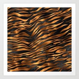 Zebra Print Copper Gold and Black Art Print