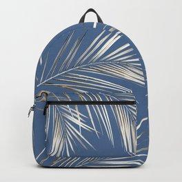 White Gold Palm Leaves on Ocean Blue Backpack