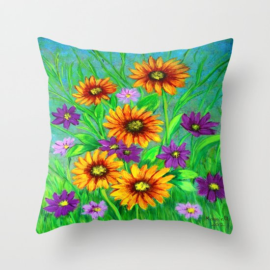 Flowers in my garden  Throw Pillow