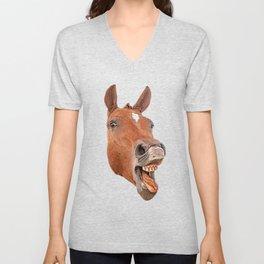 Horse Face Mammal Excited Youthful Equus Shocking Expression Unisex V-Neck