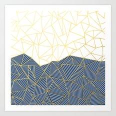 Ab Half and Half Navy Gold Art Print