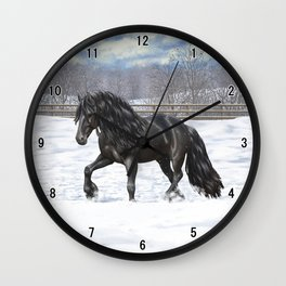 Friesian Horse Trotting In Snow Wall Clock