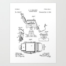 Barbers Chair Patent - Barber Art - Black And White Art Print