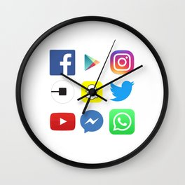 For App Lovers; Top Apps; Facebook, Instagram, Youtube, Whatsapp, Snapchat, Twitter, Social Media Wall Clock