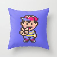 earthbound Throw Pillows featuring Ness (Peace) - Earthbound / Mother 2 by Studio Momo╰༼ ಠ益ಠ ༽