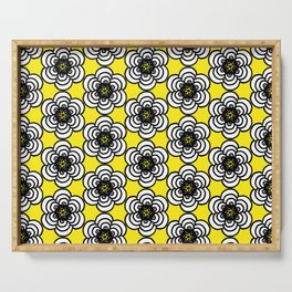 Yellow and Black Flowers Serving Tray