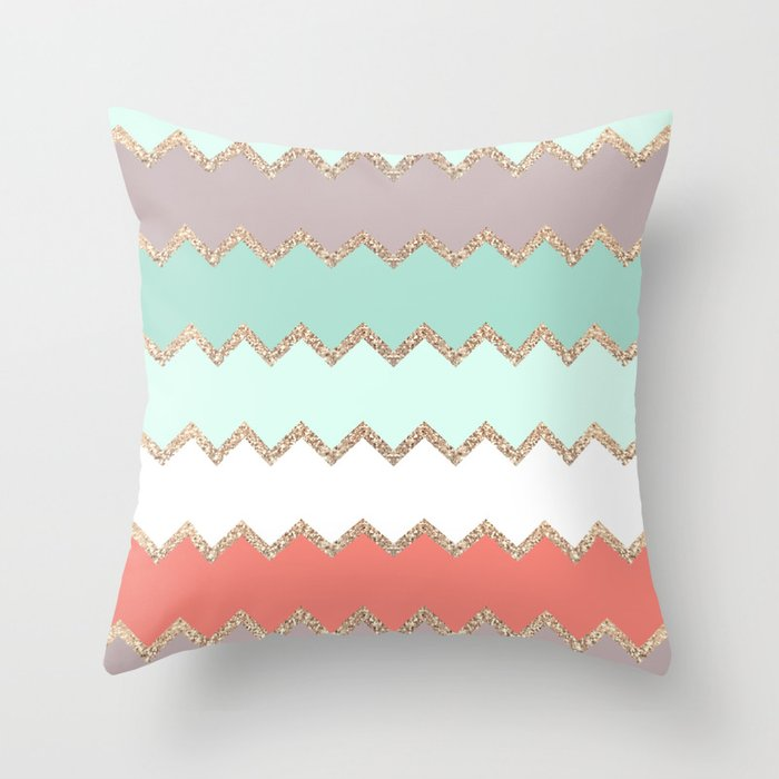 Avalon Coral Mint Throw Pillow By Monikastrigel Society6