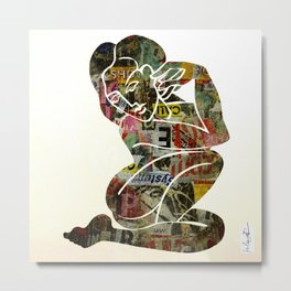 Graffiti Girl Modern Abstract Fine Art Nude Painting Pop ART Metal Print