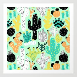 Cactus Crazy in Mint - Large Scale Art Print