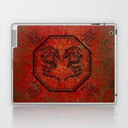 Distressed Dueling Dragons in Octagon Frame With Chinese Dragon Characters Laptop & iPad Skin