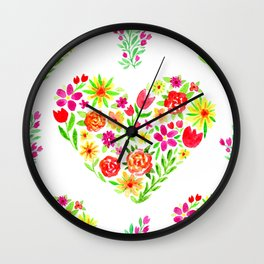 Sweet Floral Heart Wall Clock