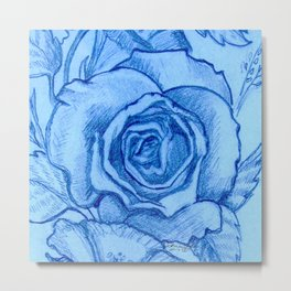 Blue Rose Design By Catherine Coyle Metal Print