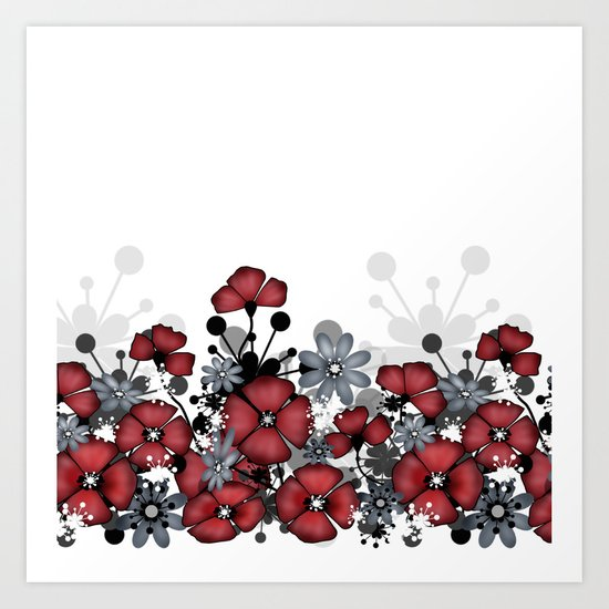 Red flowers on a white background . Art Print