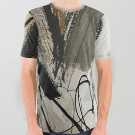 Drift [5]: a neutral abstract mixed media piece in black, white, gray, brown All Over Graphic Tee