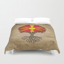 Vintage Tree of Life with Flag of Macedonia Duvet Cover