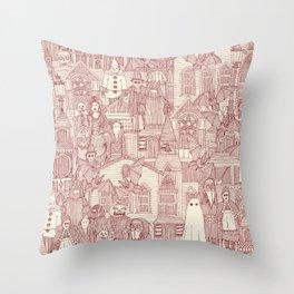 vintage halloween claret ivory Throw Pillow