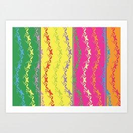 Flower Butterflies Colorful Art Abstract Pattern Art Print