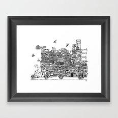 Busy City – On Your Bike Framed Art Print
